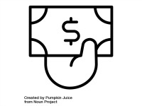 Black and white line drawing icon of a hand holding a dollar bill