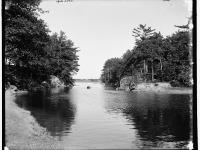 Black and white photograph of the Kennebec River