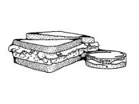 Line drawing of a sandwich